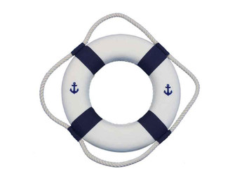 """Classic White Decorative Anchor Lifering With Blue Bands Christmas Ornament 10"""" 10-Blue-New-Anchor-Lifering-Xmas"""