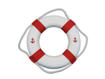 """Classic White Decorative Anchor Lifering With Red Bands Christmas Ornament 10"""" 10-Red-New-Anchor-Lifering-Xmas"""
