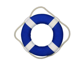 """Vibrant Blue Decorative Lifering With White Bands Christmas Ornament 10"""" N-LF-SolidBlue-10-Xmas"""