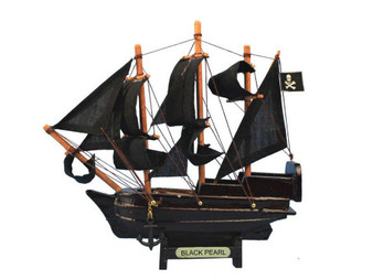 """Wooden Black Pearl Pirates Of The Caribbean Model Pirate Ship Christmas Ornament 7"""" Black-Pearl-7-Xmas"""