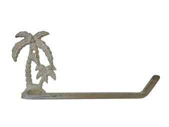 "Aged White Cast Iron Palm Tree Toilet Paper Holder 10"" K-9208-AG"