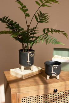 Set Of 2 Ceramic Abstract Face Planters (CDV2112)