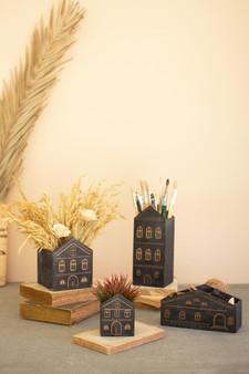 Set Of 4 Wooden House Planters - Black (CGRA1011)
