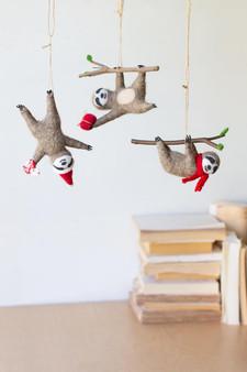 Set Of 3 Felt Christmas Sloth Ornaments (CHB2278)