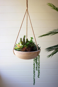 Hanging Wooden Bowl Planter (CMH1028)