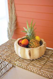 Pumpkin Shaped Wooden Bowl (CMH1039)