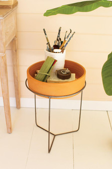 Large Shallow Clay Planter With Metal Stand - Natural (H4054)