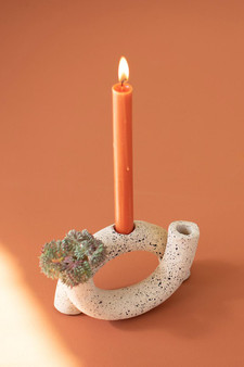 Attached Speckled U-Shaped Clay Taper Holder (H4159)