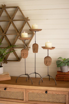 Set Of 3 Iron Pillar Holders With Gray Clay Faces (H4204)