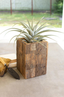 Rustic Recycled Wood Tall Rectangle Planter (NBF2546)
