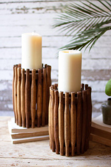 Repurposed Wooden Rolling Pin Candle Holder (NBF2549)