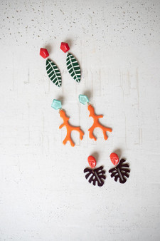 Set Of 3 Colorful Acrylic Earrings (NGRA1070)
