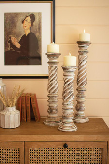 Set Of 3 Turned Wood Candle Holders #2 (NNV1138)