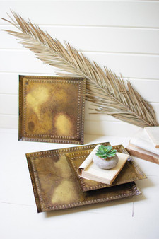 Set Of 3 Antique Brass Square Trays (NPV1317)