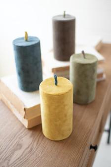Set Of 4 Faux Velvet Candles - One Each Color (NRV2213)