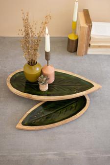 Set Of 2 Carved Wooden Leaf Platters - Green Enamel (NTBM1007)