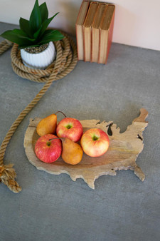 Carved Wooden Usa Platter (NTBM1012)
