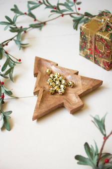 Carved Wooden Christmas Tree Platter (NTBM1018)