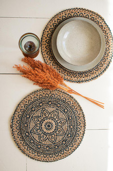 Set Of 4 Round Printed Jute Placemats - Blue (NVEE1027)