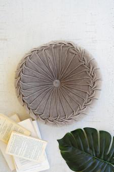 Round Tufted Velvet Pillow - Cobblestone (NVEE1039)
