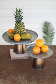 Set 2 Galvanized Display Stands With Antique Brass Bases (NZR1003)