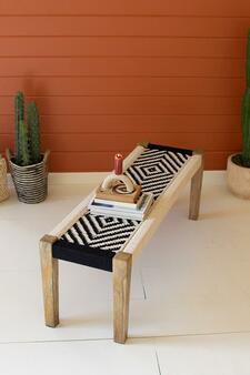Mango Wood Bench With Black & White Cotton Weaving (NZR1016)