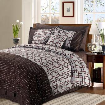 Luxury Plaid Prints Bedding 8+2 Piece Comforter Set Queen Size (HT0611Q)