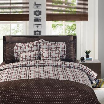 Luxury Plaid Prints Bedding 8+2 Piece Comforter Set Full Size (HT0611F)
