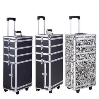 Pro 4In1 Interchangeable Aluminum Rolling Makeup Case Cosmetic Train Box Trolley-Black (BG48226BK)