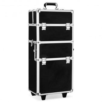 Pro 3 In1 Aluminum Rolling Makeup Cosmetic Train Case Wheeled Box 3 Color-Black (BG48223BK)