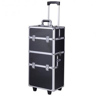 Pro 3 In1 Aluminum Rolling Makeup Cosmetic Train Case Wheeled Box 3 Color-Black Diamond (BG48223BDA)
