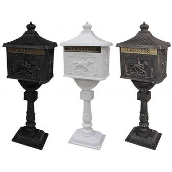 Mail Box Heavy Duty Mailbox Postal Box Security Cast Aluminum Vertical Pedestal-Black (HW45239BK)