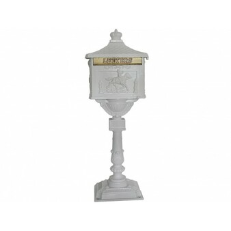 Mail Box Heavy Duty Mailbox Postal Box Security Cast Aluminum Vertical Pedestal-White (HW45239WH)