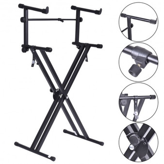 Pro Adjustable 2-Tier X Style Dual Keyboard Stand (TL28590)