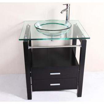 "Modern 28"" Bathroom Tempered Clear Glass Vessel Sink & Vanity Cabinet W/ Faucet (BA6403)"