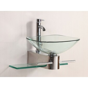 Bathroom Vanities Furniture Clear Square Tempered Glass Bowl Vessel Sink Faucet (BA6099)