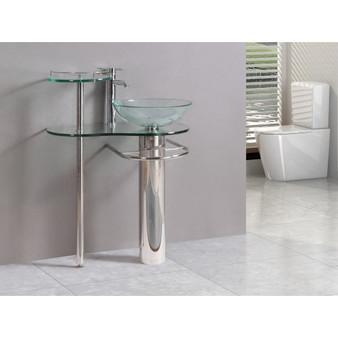 29 Inch Bathroom Vanities Pedestal Vessel Sink Bowl Glass Modern Furniture Set (BA6098)
