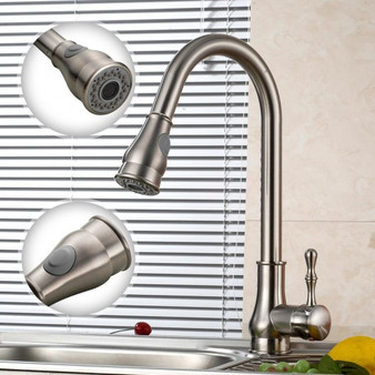 """New 16"""" Kitchen Sink Faucet Brushed Nickel Pull-Out Spray Swivel Spout Dispenser (BA6986)"""