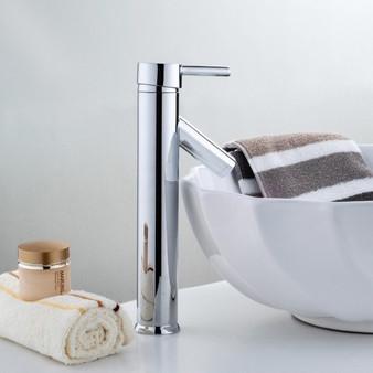 "New 12"" Modern Contemporary Bathroom Faucet Vessel Sink Single Handle - Chrome (BA6989)"