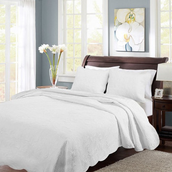 Details About 3 Pcs Quilted Bedspread Set Coverlet 2 Pillow Shams Full/Queen/King Size New -Queen White (HT0688)