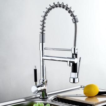 New Swivel Spout Chrome Brass Faucet Dual Sprayer Vessel Sink Mixer Tap Kitchen (BA7011)