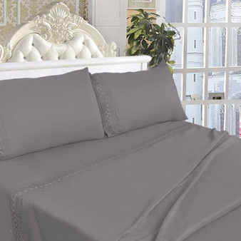 King Size 4 Pieces Bed Sheet Set-Gray (HT0818)