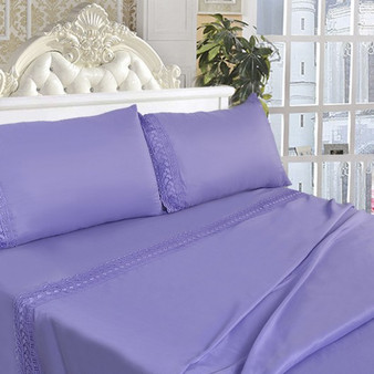 King Size 4 Pieces Bed Sheet Set-Lavendar (HT0819)