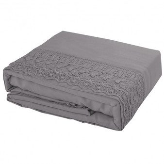 California King Size 4 Pieces Bed Sheet Set-Gray (HT0824)