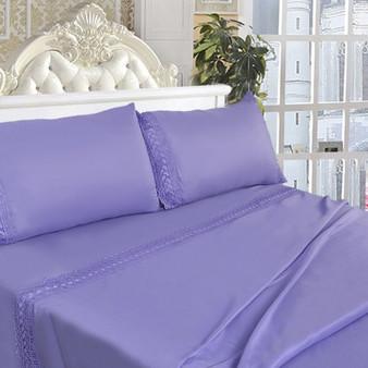 California King Size 4 Pieces Bed Sheet Set-Lavendar (HT0825)