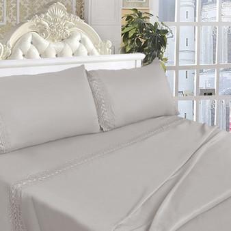 California King Size 4 Pieces Bed Sheet Set-Cream White (HT0826)