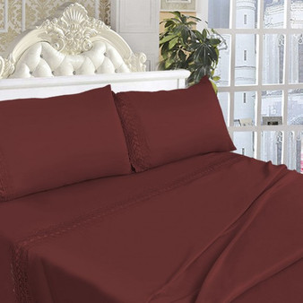 California King Size 4 Pieces Bed Sheet Set-Burgundy (HT0827)