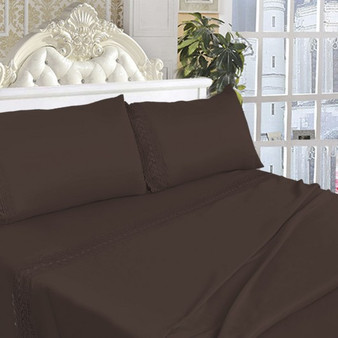 California King Size 4 Pieces Bed Sheet Set-Chocolate (HT0828)