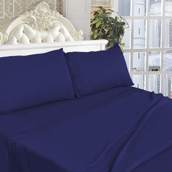 California King Size 4 Pieces Bed Sheet Set-Navy (HT0829)