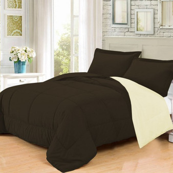 3 Pc Goose Down Alternative Reversible Comforter Sham Twin Full /Queen And King-Beige&Brown-Twin Size (HT0728T)